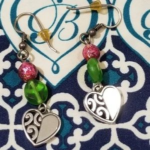 Brighton silver and beaded heart earrings